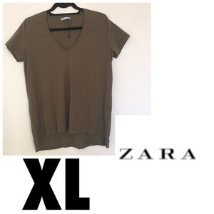 🦋3 for $15🦋NWOT XL Zara high/low Olive T Shirt